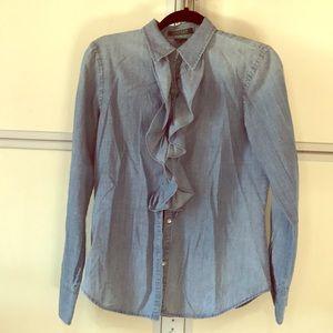 Ralph Lauren chambray denim blouse M